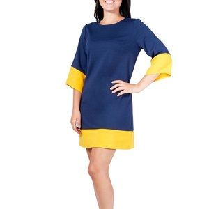 NWOT Kim Rogers Petite Navy Blue Yellow Gold Dress